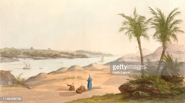 view of the egyptian pyramids - nile river stock illustrations, clip art, cartoons, & icons