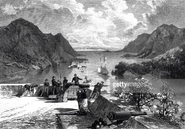 view of the hudson, seen from fort west point - west point military academy stock illustrations