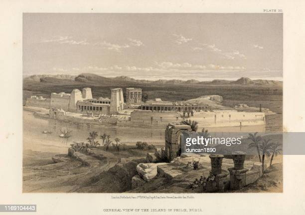 view of the island of philae, egyptian temple complex - nile river stock illustrations, clip art, cartoons, & icons