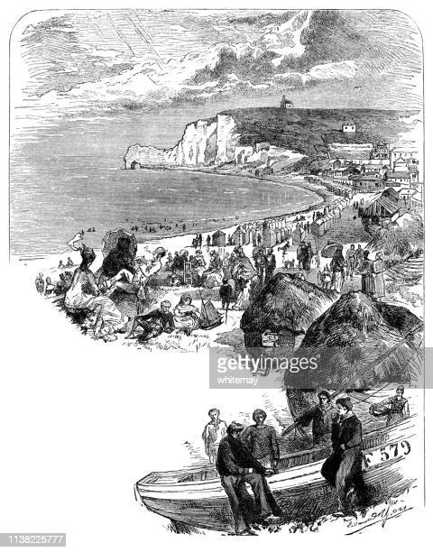 view of the north coast of france - victorian engraving - natural arch stock illustrations, clip art, cartoons, & icons