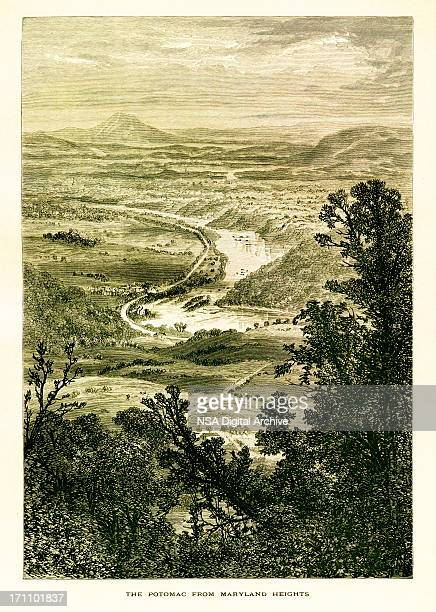view of the potomac river from maryland heights, west virginia - protohistory_of_west_virginia stock illustrations