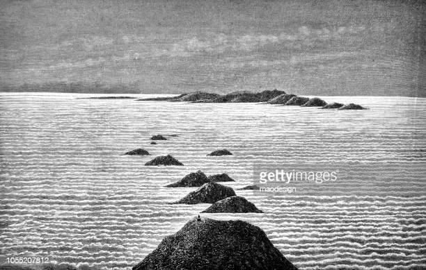 illustrations, cliparts, dessins animés et icônes de vue sur la mer avec les montagnes - 1888 - paysage marin