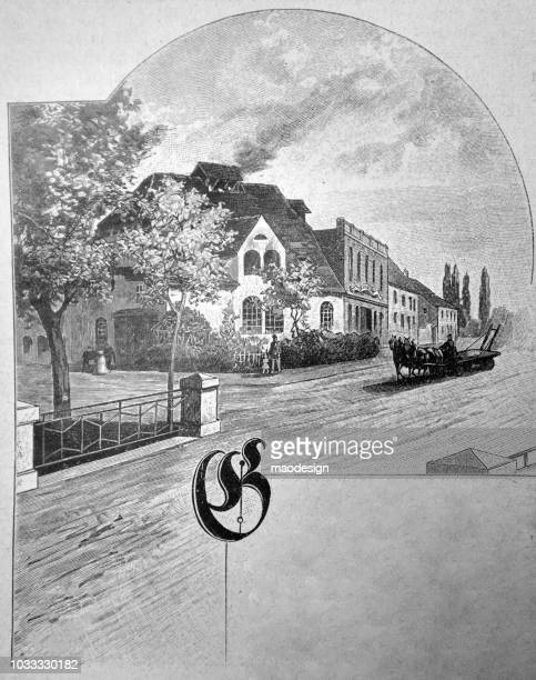 View of the suburbs with horse-drawn carriages. Frame for inscriptions visible - 1895