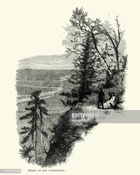 view of the valley of the connecticut, 19th century - connecticut river stock illustrations, clip art, cartoons, & icons