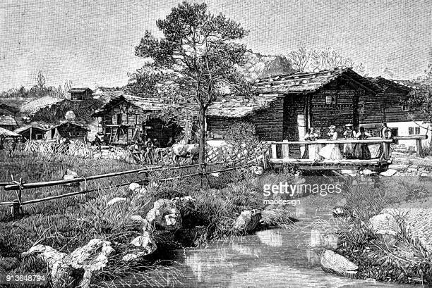 view of the village with women standing on the bridge - 1896 - 1896 stock illustrations, clip art, cartoons, & icons