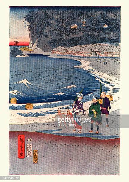 view of tokaido by hiroshige - japanese art stock illustrations