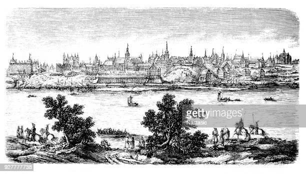 view of warsaw across river vistula ,17th century - poland stock illustrations