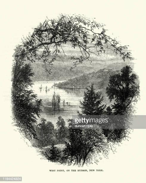 ハドソン、ニューヨーク、19世紀の西ポイントの眺め - ウェストポイント点のイラスト素材/クリップアート素材/マンガ素材/アイコン素材