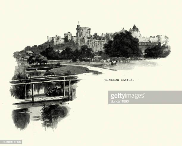 view of windsor castle 1890s - windsor castle stock illustrations