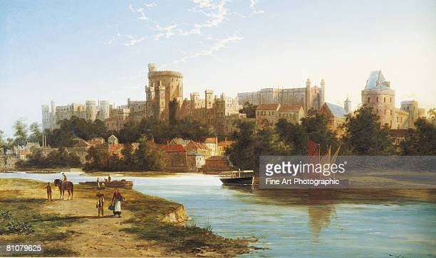 view of windsor, england, from the thames - outdoors stock illustrations