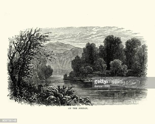 view on the river jordan, 19th century - jordan middle east stock illustrations, clip art, cartoons, & icons
