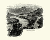 vintage engraving view susquehanna river 19th