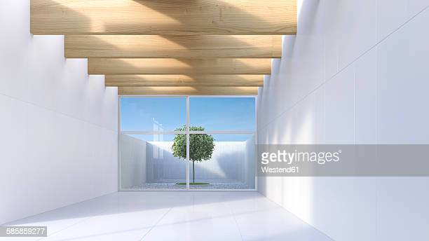 View through white hall to single tree standing in a courtyard, 3D Rendering