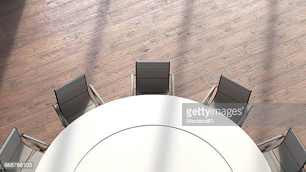 View to round conference table from above, 3D Rendering