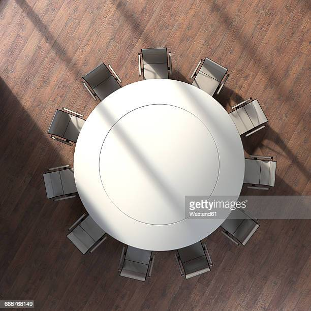 view to round conference table from above, 3d rendering - conference table stock illustrations, clip art, cartoons, & icons