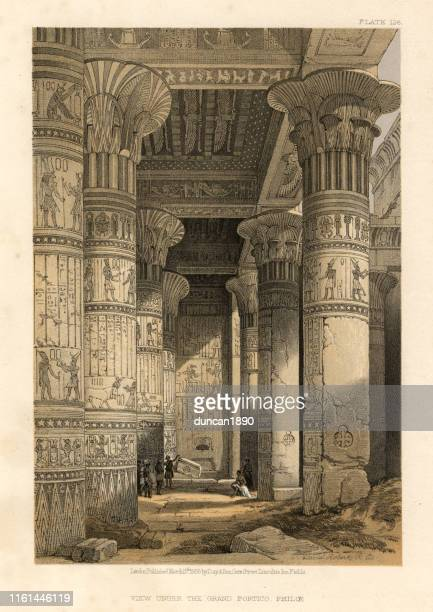 view under the grand portico of the temple of philae - nubia stock illustrations, clip art, cartoons, & icons