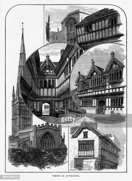 ilustrações, clipart, desenhos animados e ícones de vistas de coventry, litchfield, warwickshire, inglaterra vitoriana gravura, 1840 - spire