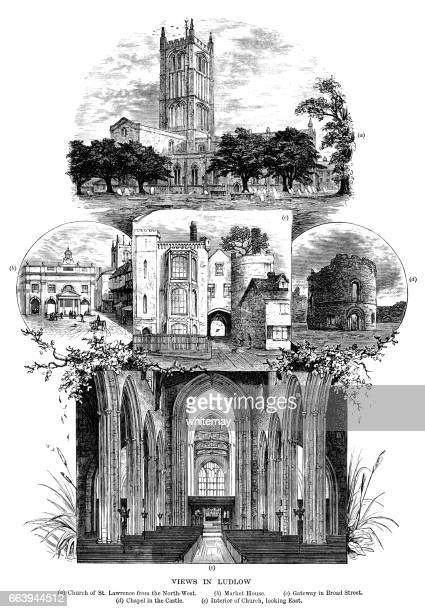 views of ludlow (victorian engraving) - nave stock illustrations