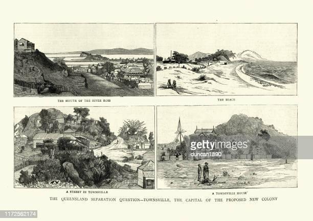 ansichten von townsville, queensland, australien 19. jahrhundert - townsville australien stock-grafiken, -clipart, -cartoons und -symbole