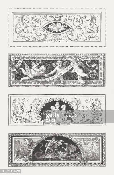 vignettes with grotesque ornaments, wood engravings, published in 1885 - cherub stock illustrations