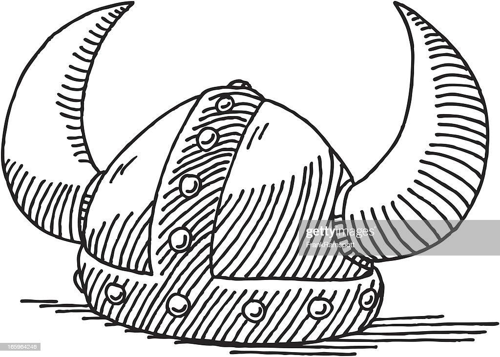Wikingerhelm Zeichnung : Stock-Illustration