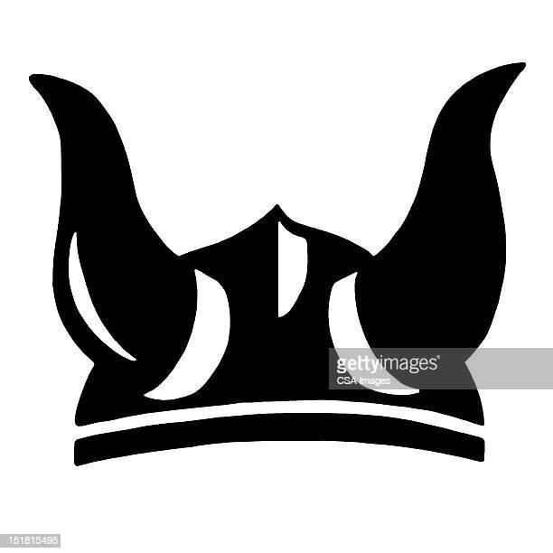viking horn helmet - helmet stock illustrations