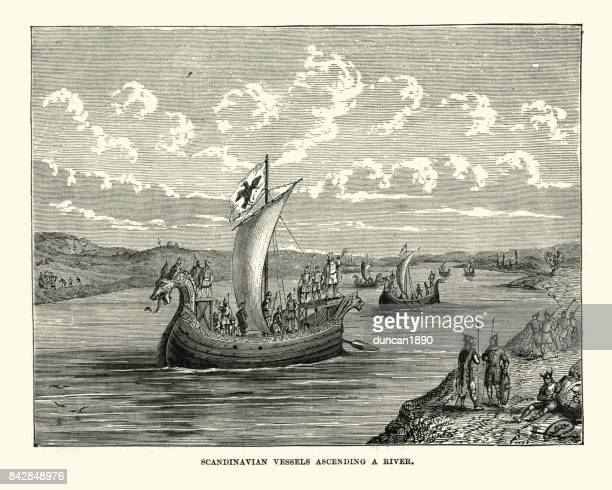 viking longboats ascending a river - history stock illustrations