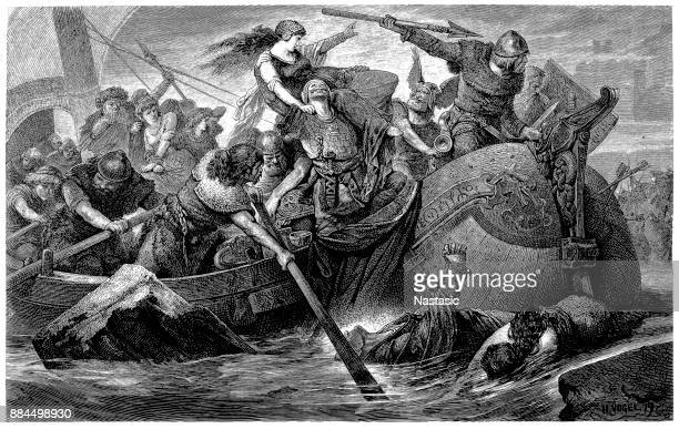 Viking raid, wood engraving by Hermann Vogel