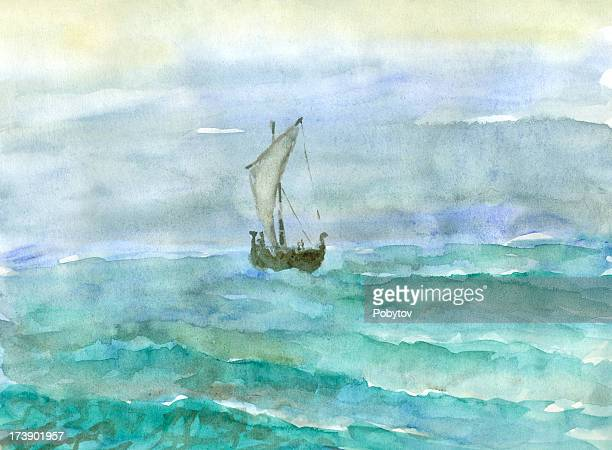 vikings boat - seascape stock illustrations, clip art, cartoons, & icons