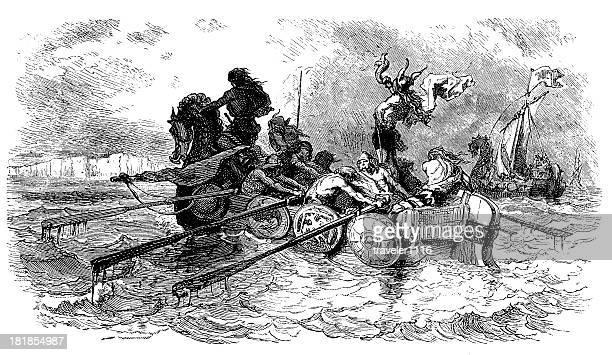 ilustrações, clipart, desenhos animados e ícones de vikings em uma expedição - século xix