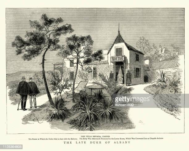 villa nevada, cannes, where prince leopold, duke of albany died - cannes stock illustrations, clip art, cartoons, & icons