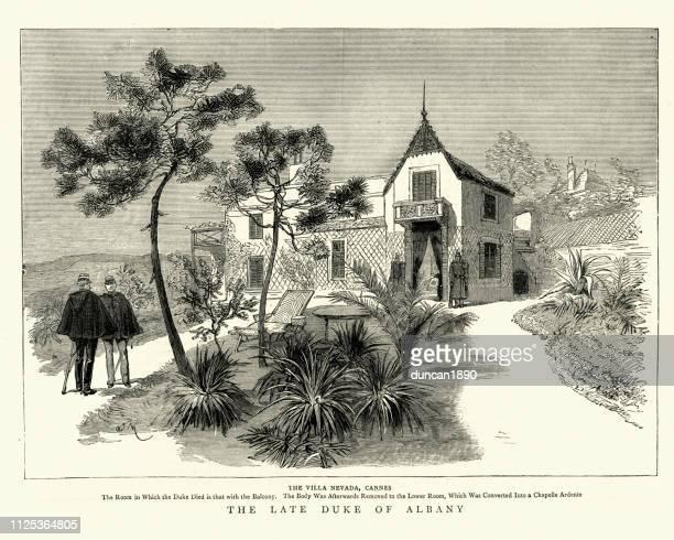 stockillustraties, clipart, cartoons en iconen met villa nevada, cannes, waar prins leopold, hertog van albany stierf - duke