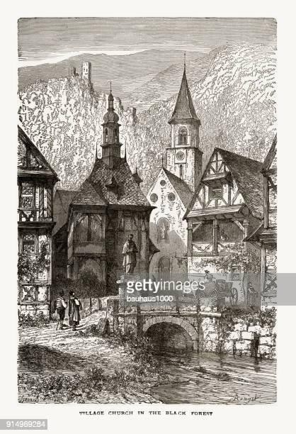 village church in black forest, strasburg, strasbourg, germany, circa 1887 - steeple stock illustrations, clip art, cartoons, & icons