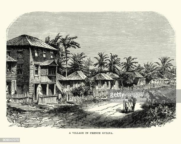 ilustraciones, imágenes clip art, dibujos animados e iconos de stock de pueblo en la guayana francesa, siglo xix - guayana francesa