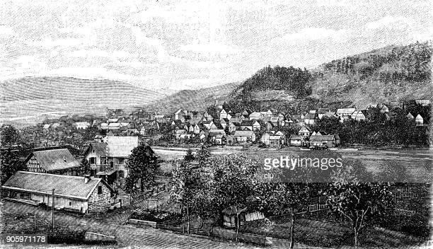 village in the district of biedenkopf, hesse: katzfeld - surrounding stock illustrations, clip art, cartoons, & icons