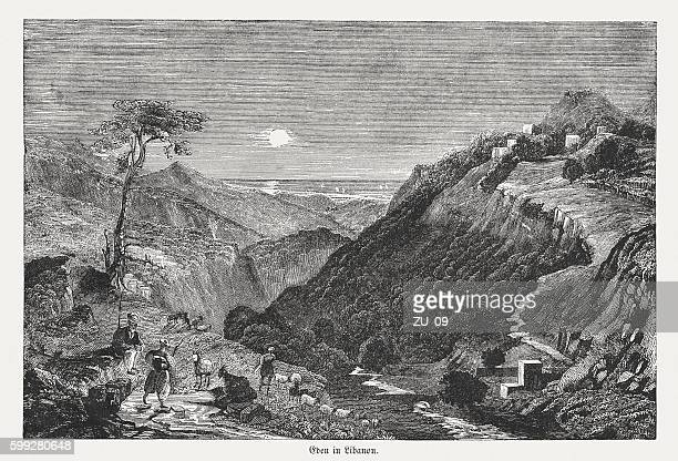 Village of Eden in Libanon, wood engraving, published in 1855