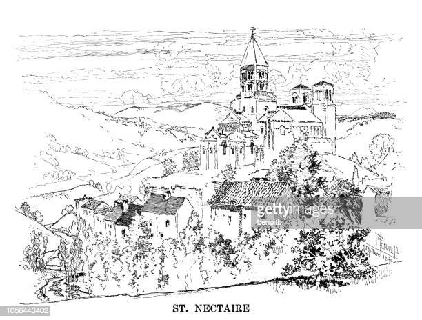 village of saint nectaire in france - auvergne rhône alpes stock illustrations, clip art, cartoons, & icons