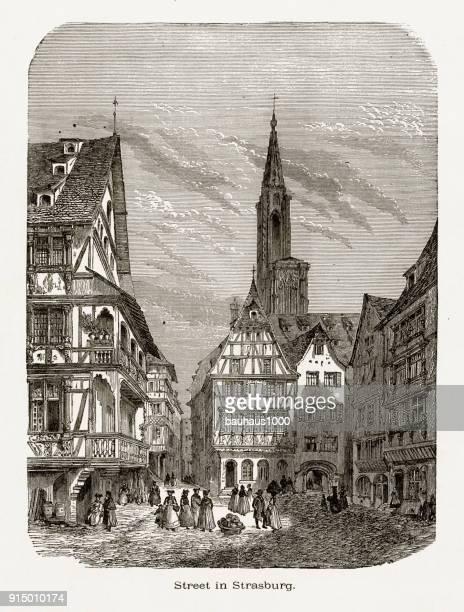 village of strasburg, strasbourg, germany, circa 1887 - steeple stock illustrations, clip art, cartoons, & icons