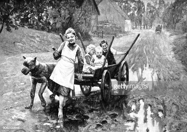 illustrations, cliparts, dessins animés et icônes de jeunes villageois jouant sur un chariot - village