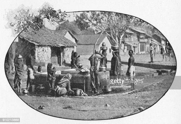 Villagers at a Well in Rural India - British Era