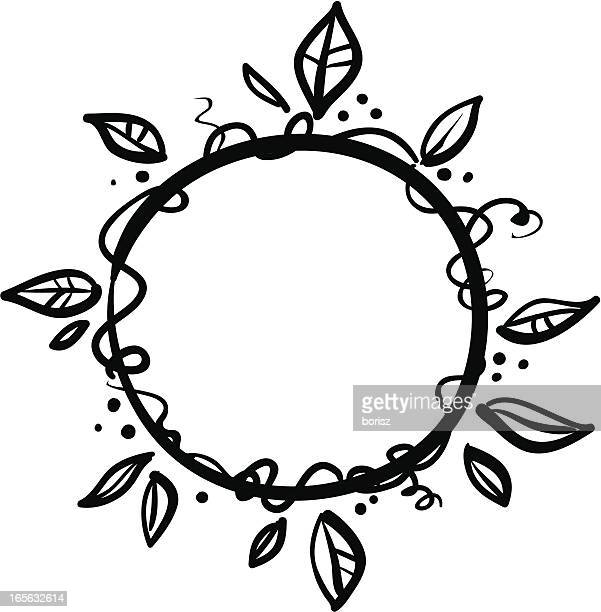 vine wreath - plant stem stock illustrations, clip art, cartoons, & icons