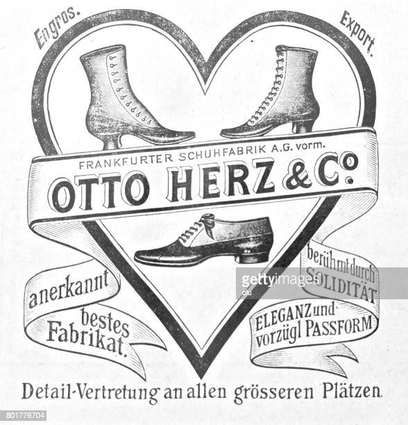 vintage ad for shoes otto herz & co. - 19th century stock illustrations