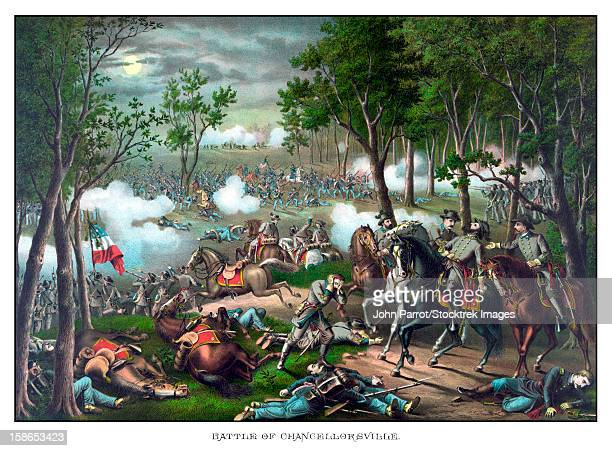 Vintage American Civil War print featuring The Battle of Chancellorsville and showing the death of Confederate General Thomas Stonewall Jackson. The battle occurred April 30 to May 6, 1863.
