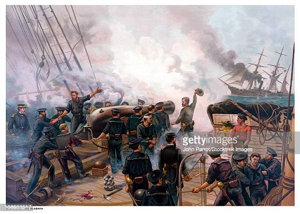 vintage american civil war print of the battle of cherbourg. - us navy stock illustrations