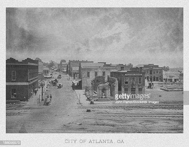 ilustraciones, imágenes clip art, dibujos animados e iconos de stock de vintage american civil war print of the city of atlanta, georgia, circa 1863.  - atlanta georgia