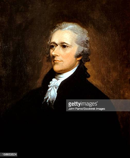 vintage american history painting of founding father alexander hamilton. - declaration of independence stock illustrations