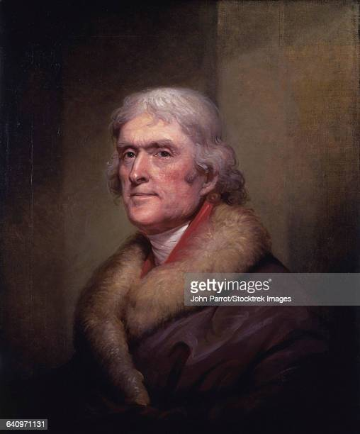 vintage american history painting of president thomas jefferson. - thomas jefferson stock illustrations, clip art, cartoons, & icons