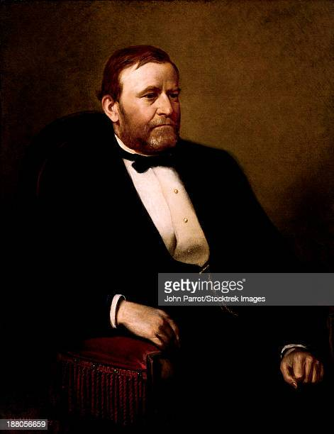 vintage american history painting of president ulysses s. grant. - president stock illustrations, clip art, cartoons, & icons
