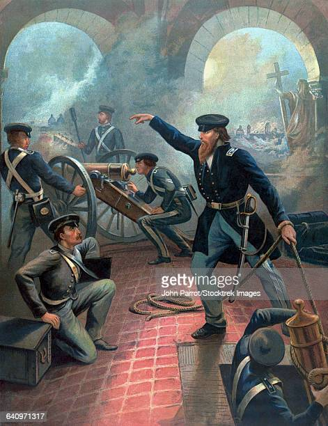 vintage american history poster of ulysses s. grant commanding troops during the mexican american war. - mexican american war stock illustrations