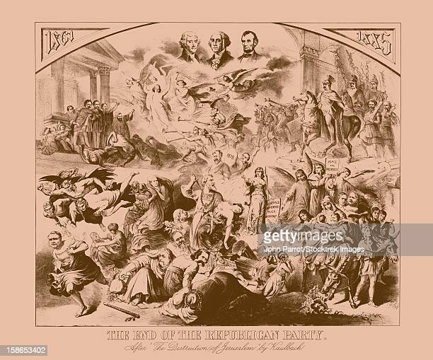 vintage american history print featuring important political figures - thomas jefferson stock illustrations, clip art, cartoons, & icons